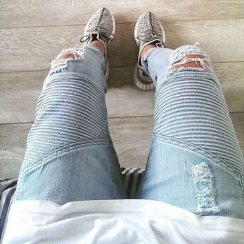 Hip hop clothing designer pants blue/black destroyed mens slim denim straight biker skinny jeans for men ripped blue jeans 28-38
