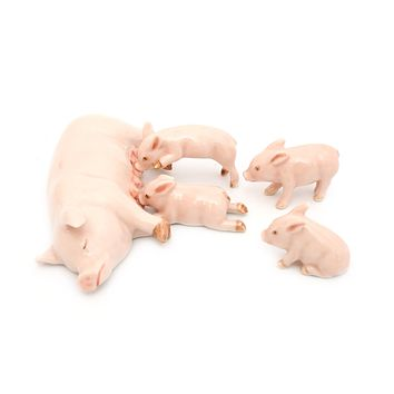 Handmade Miniatures Ceramic Pig Family Figurine Animals Decor/Animal Collection