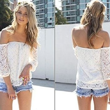 ABC Sexy White Lace Off-shoulder Loose Tops Fashion Casual T-shirt Blouse (M)
