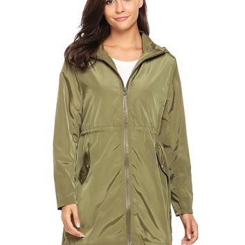 Women's Spring Zip-Up Hooded Trench coats Drawstring Waist Cloak Waterproof Windproof Raincoat Coat