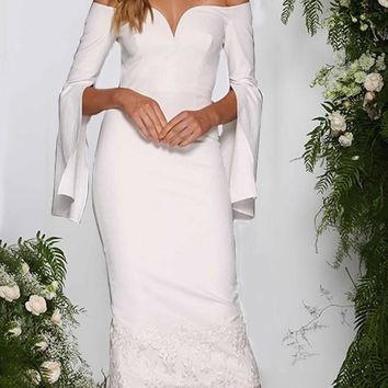 New White Patchwork Lace Cut Out Off Shoulder V-neck Long Bell Sleeve Homecoming Party Elegant Midi Dress