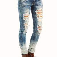 distressed-bleached-skinny-jeans BLUE - GoJane.com