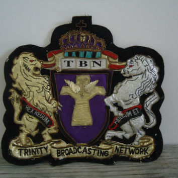 Trinity Broadcasting Network Large Applique Advertising TBN Iron On Patch Embroidered Vintage