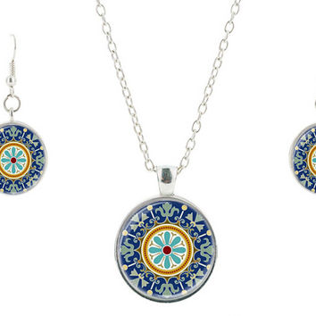 Blu glass jewelry set vintage drop earring pendant necklace