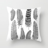 Feathers Throw Pillow by Holly Trill