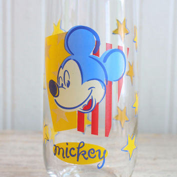 Vintage Mickey Mouse Glass - 1970's Patriotic Mickey Drinking Glass