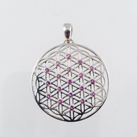 Sacred Geometry, Flower of Life Pendant with Amethysts set in Sterling Silver