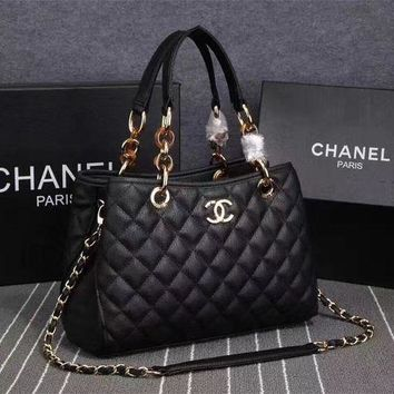 DCCKG7J CHANEL Black Real Leather High Quality Women Hand Bags
