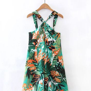 Streetstyle  Casual Tropical V-Neck Printed Romper
