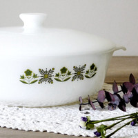 Milk Glass Covered Casserole Dish