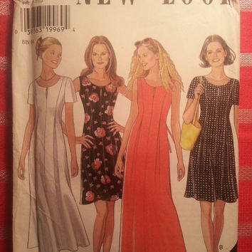 Uncut Simplicity New Look Sewing Pattern, 6601! Small/Medium/Large/XL/XXL/Plus/Women's/Misses Short Sleeve or Sleeveless Summer Dress