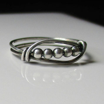 Nisha Wire Wrapped Ring, Bead Ring, Oxidized Silver Ring, Spinning Bead Ring, Fidget Ring, Handmade Jewelry
