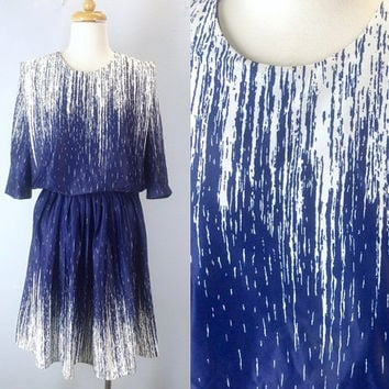 Vintage Dress, Vintage Dresses, Waterfall Dress, 80s Dress, 1980s Dress, Navy Blue Dress, Summer Dress,