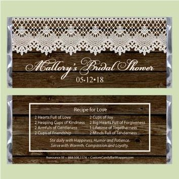 Lace Bridal Shower Candy Bar Wrapper