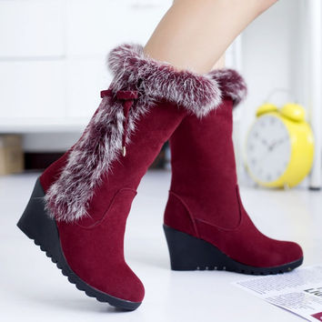 On Sale Hot Deal Rabbit Winter Stylish Wedge Matte Boots [9432964298]