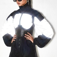 The new hot - selling color reflective long collar coat woman