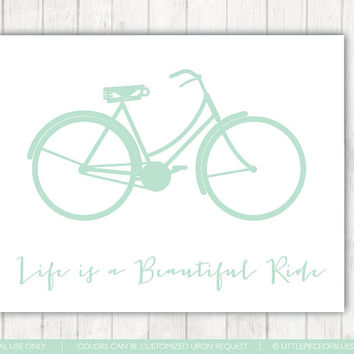 Life is a Beautiful Ride_Print_8x10 or 11x14_Bicycle Print_Bike Art_Bike Decor_Home Print_ Bike Silhouette_ Life Quote_ Typography Quote