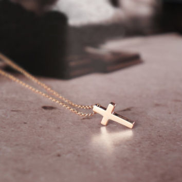 Cross necklace -  rose gold titanium