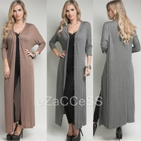 Sexy Womens Long Cardigan Sweater Duster Coat Cover up Light Button Sleeve S,M,L