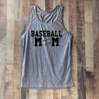 Baseball Mom Shirt Tank Top Racerback Racer back T Shirt Top – Size S M L