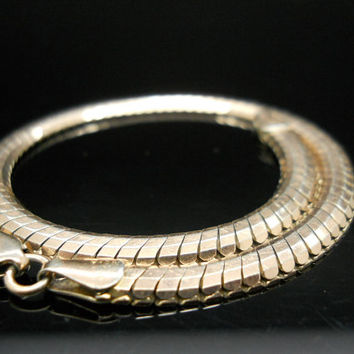 Sterling Bracelet 8.25 Inch Silver Serpentine Snake Flexible Gold Overlay Milor Italy 925 Jewelry
