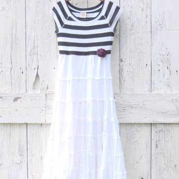 Summer Maxi Dress , Small to Medium upcycled white and navy blue dress , eco friendly nautical clothing , repurposed recycled by wearlovenow