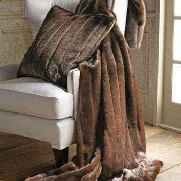 Brown MINK FAUX MINK Pillow Cover, fluffy pillow, throw pillow, accent pillow, chocolate brown, mocha, cushion cover,