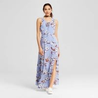 Women's Floral Lace up Maxi Dress - Le Kate (Juniors') Blue