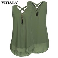 VITIANA Women Plus Size 5XL Chiffon Casual Blouse Shirt Female Summer Black White Sleeveless Elegant Loose Tank Tops Tee