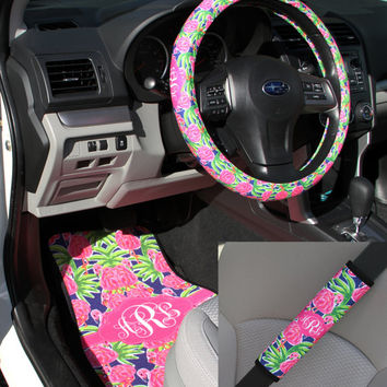 Preppy Lilly Inspired Car Accessories MIX AND MATCH Car Mats Steering Wheel Cover & Seat Belt Covers Personalized Custom Monogram Carmats
