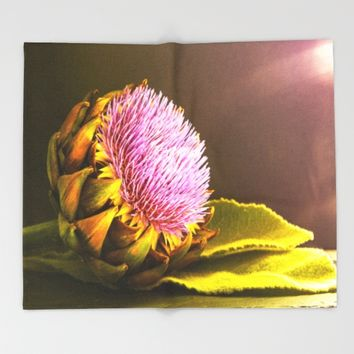 artichokes flower Throw Blanket by Tanja Riedel