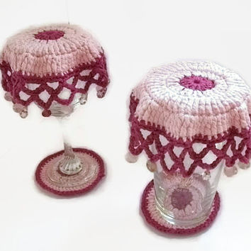 Beaded Glass Covers and Coaster Sets in Pink & Dk Pink. Eco Friendly, Spring, Summer, Picnics, Alfresco, Outdoor Dining.