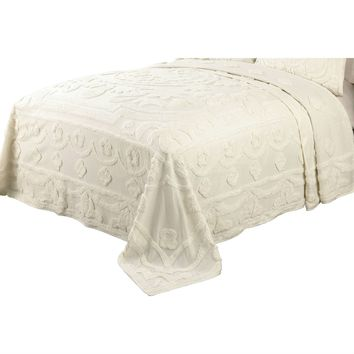 King size 100-Percent Cotton Chenille Bedspread in Ecru Off-White Ivory Beige Color
