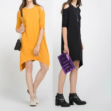 Cut Out Half Sleeve Irregular Hem Loose Dress