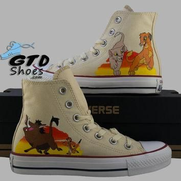Hand Painted Converse Hi. The Lion King, Simba, Nala, Timon, Pumbaa. Handpainted shoes
