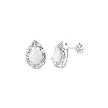 Sterling Silver White Opal Teardrop Halo Earrings