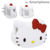 Hello Kitty USB Charger Face Figure Red Sanrio Japan Exclusive