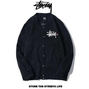 Stussy Autumn And Winter New Fashion Bust Letter Print And Back Letter Print Women Men Long Sleeve Top Coat Cardigan Black