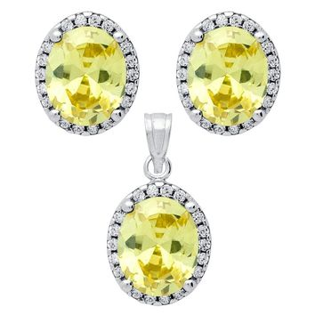 .925 Sterling Silver Nickel Free Rhodium Plated Set: Light Yellow 8X10mm Oval Cubic Zirconia Earrings And Pendant With Cubic Zirconia Halo