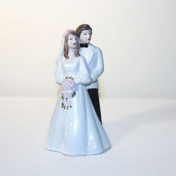 Porcelain Wedding Cake Topper, Figurine, Bride Groom