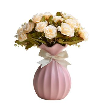 Macarons Color Wedding Vase European Style Fashion Handmade Ceramic Hydroponic Flower Vases Desk Accessories Crafts Flowerpot