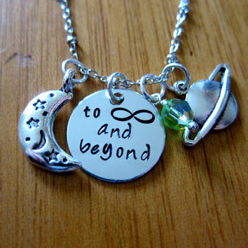 """Disney's """"Toy Story"""" Inspired Necklace. Buzz Lightyear To Infinity and Beyond. Charm Pendant, Swarovski crystal, for women or girls."""