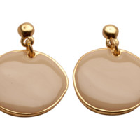 Enamel Covered Round Disc Earrings