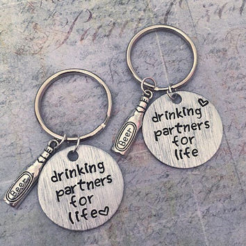 Drinking Partners For Life Best Friends Keychains - Best Friends Keyrings - Drinking Partners Accessories - Alcohol, Parties, Sorority