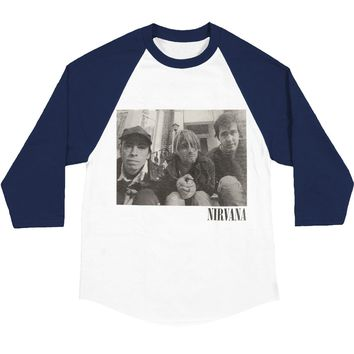 Nirvana Men's  Stairs Box Photo Mens 3/4 Raglan T Baseball Jersey Navy