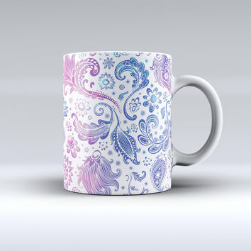 The Purple & Blue Flowered ink-Fuzed Ceramic Coffee Mug