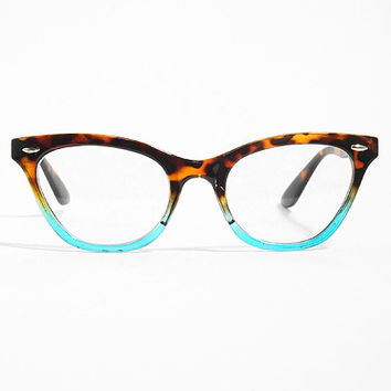 'Emma' Gradient Frame Cat Eye Clear Glasses - Tortoise/Teal #1029-5