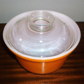 Vintage 1970 Orange Crown Ovenware Pyrex 2.5 Pint (1.5 Litre) Deep Casserole Dish / Retro Glass Half Tub Pyrex Dish