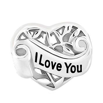 DemiJewelry Family Tree of Life Sterling Silver I Love You Heart Charm Beads fit Charms Bracelet