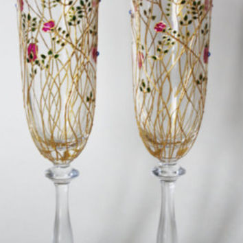 Wedding Glasses Flowers, Flutes Personalized gift, Wedding Flutes Toasting Flowers, Flutes Wedding Champagne Glasses Bride and Groom